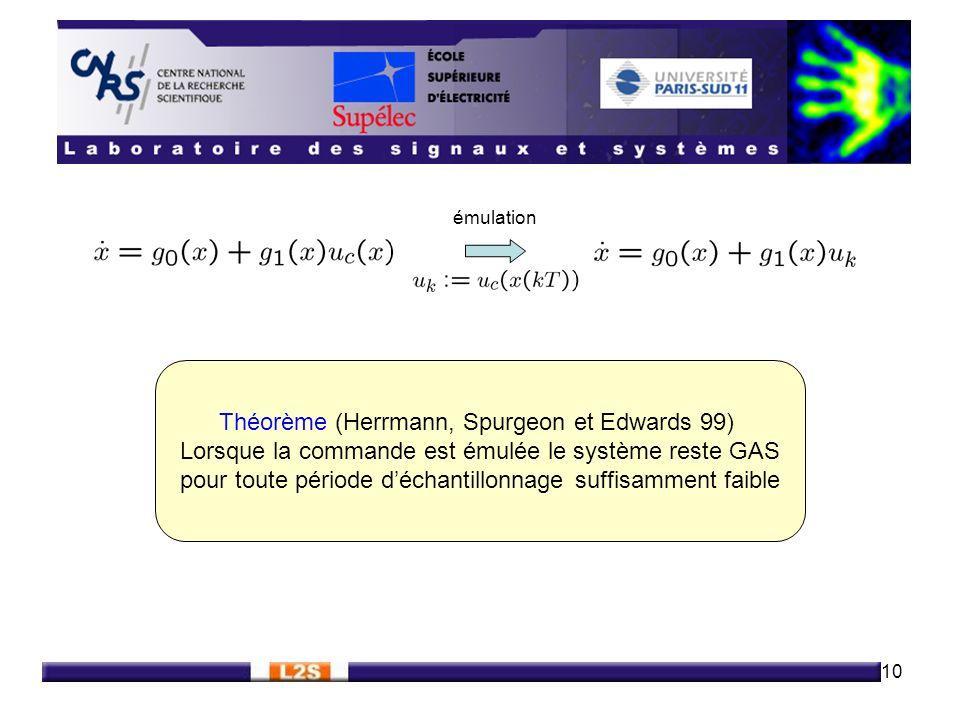 10 Théorème (Herrmann, Spurgeon et Edwards 99) Lorsque la commande est émulée le système reste GAS pour toute période déchantillonnage suffisamment fa