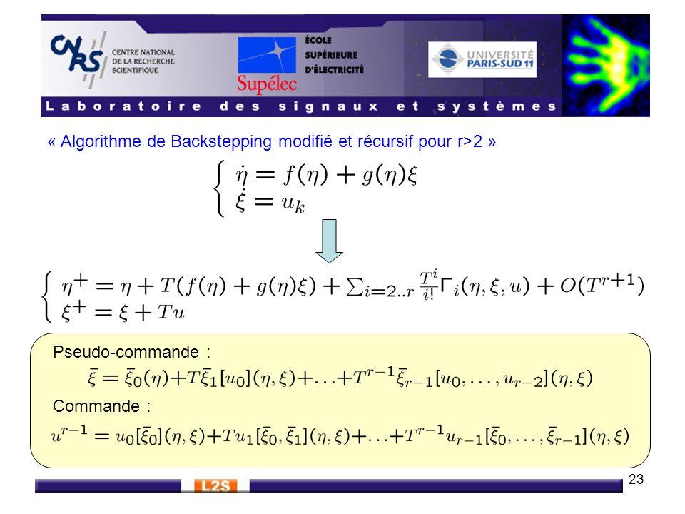 23 « Algorithme de Backstepping modifié et récursif pour r>2 » Pseudo-commande : Commande :