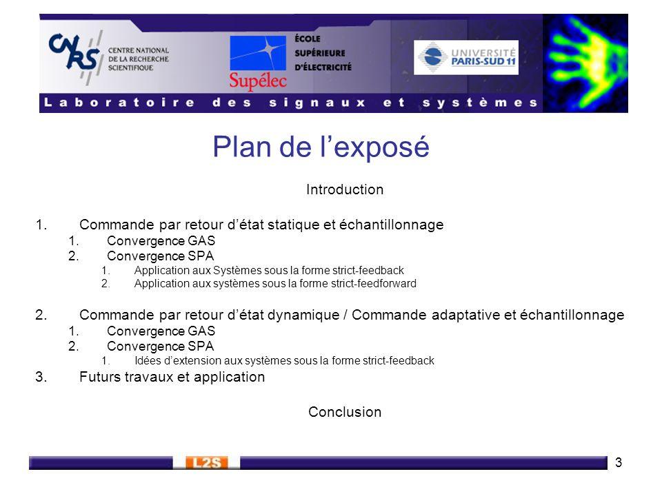 3 Plan de lexposé Introduction 1.Commande par retour détat statique et échantillonnage 1.Convergence GAS 2.Convergence SPA 1.Application aux Systèmes