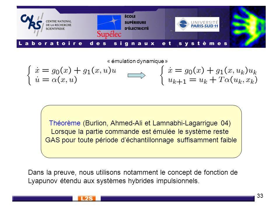 33 Théorème (Burlion, Ahmed-Ali et Lamnabhi-Lagarrigue 04) Lorsque la partie commande est émulée le système reste GAS pour toute période déchantillonn