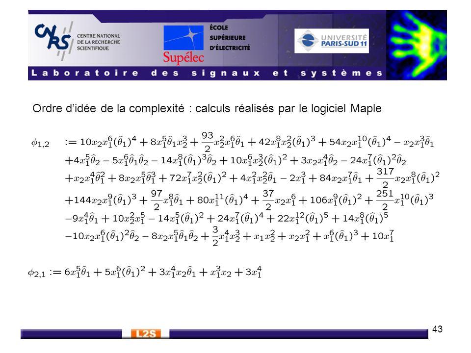 43 Ordre didée de la complexité : calculs réalisés par le logiciel Maple