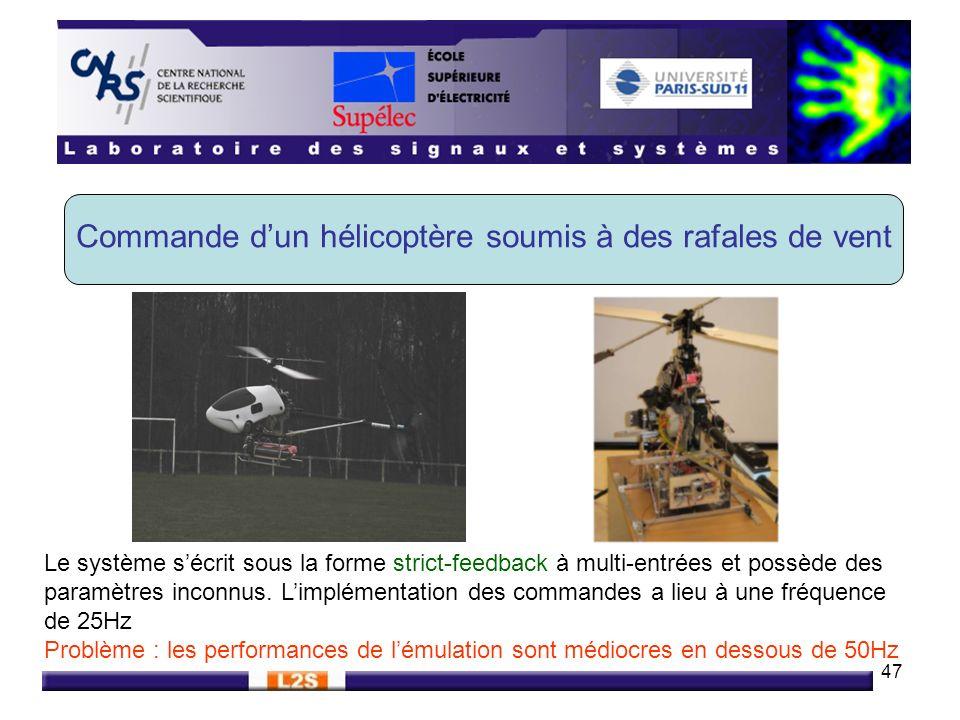 47 Commande dun hélicoptère soumis à des rafales de vent Le système sécrit sous la forme strict-feedback à multi-entrées et possède des paramètres inc