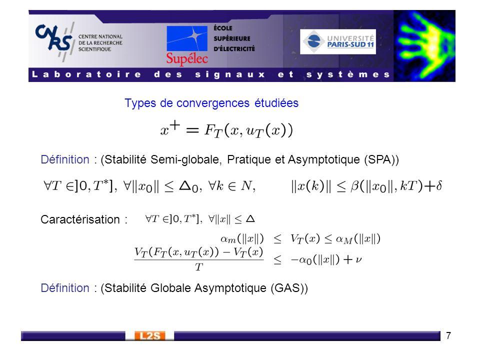 7 Types de convergences étudiées Définition : (Stabilité Semi-globale, Pratique et Asymptotique (SPA)) Caractérisation : Définition : (Stabilité Globa