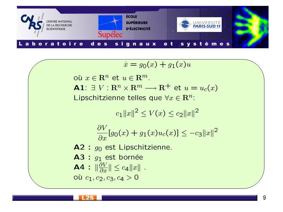 10 Théorème (Herrmann, Spurgeon et Edwards 99) Lorsque la commande est émulée le système reste GAS pour toute période déchantillonnage suffisamment faible émulation