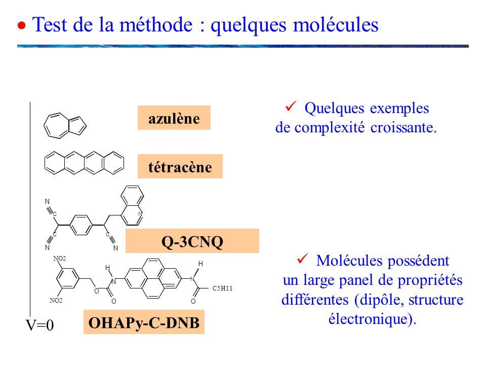 Test de la méthode : quelques molécules Quelques exemples de complexité croissante. Molécules possédent un large panel de propriétés différentes (dipô