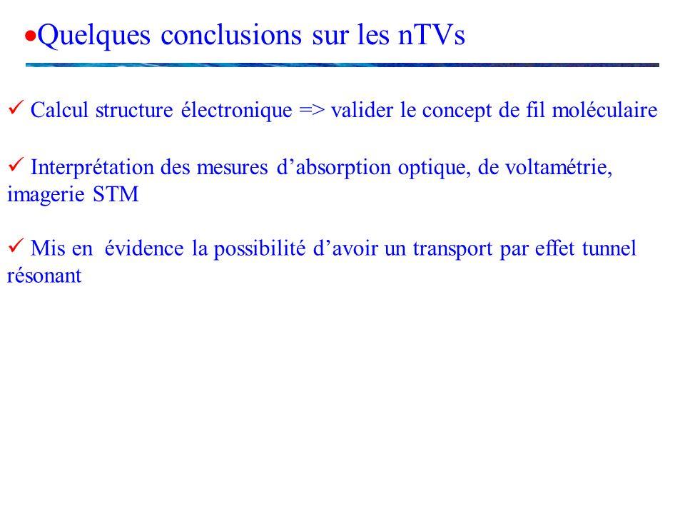 Quelques conclusions sur les nTVs Calcul structure électronique => valider le concept de fil moléculaire Interprétation des mesures dabsorption optiqu