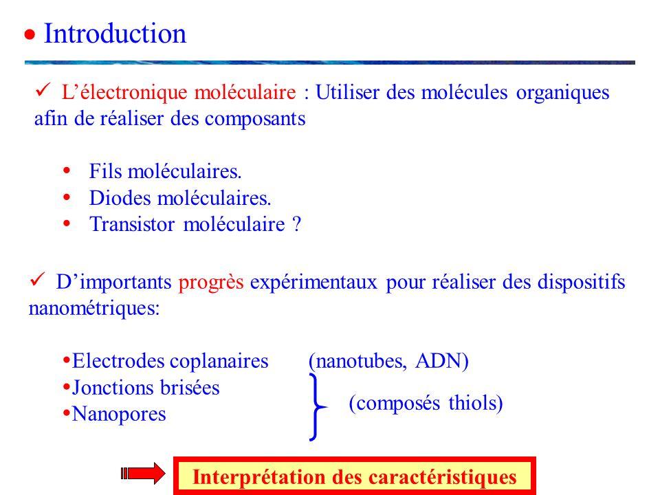 Lélectronique moléculaire : Utiliser des molécules organiques afin de réaliser des composants Fils moléculaires. Diodes moléculaires. Transistor moléc