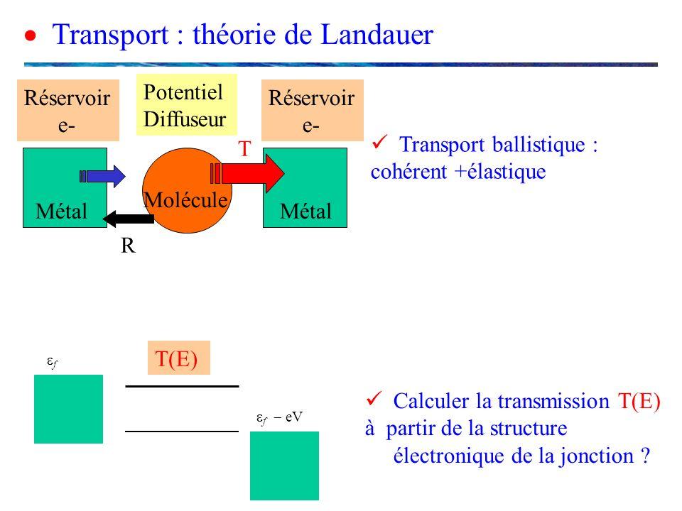Transport : théorie de Landauer Calculer la transmission T(E) à partir de la structure électronique de la jonction ? Transport ballistique : cohérent