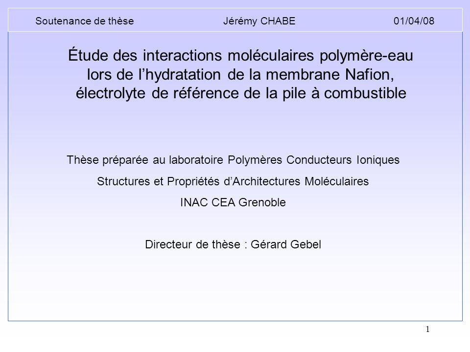 1 Thèse préparée au laboratoire Polymères Conducteurs Ioniques Structures et Propriétés dArchitectures Moléculaires INAC CEA Grenoble Directeur de thè