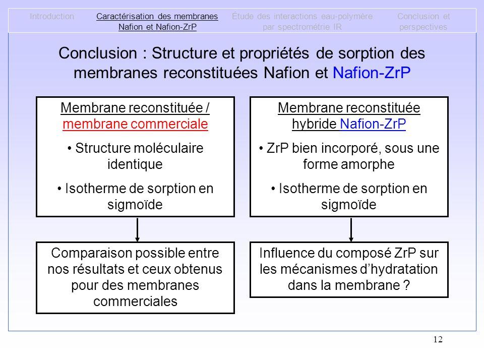 12 IntroductionCaractérisation des membranes Nafion et Nafion-ZrP Étude des interactions eau-polymère par spectrométrie IR Conclusion et perspectives