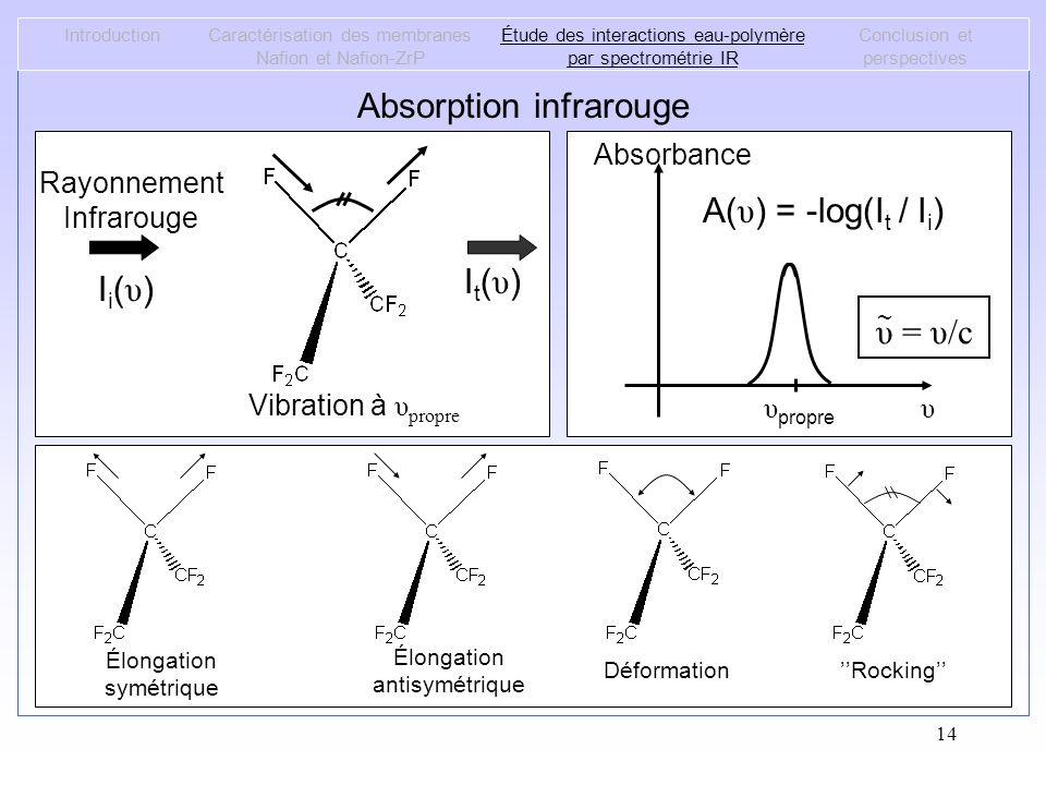 14 Absorption infrarouge IntroductionCaractérisation des membranes Nafion et Nafion-ZrP Étude des interactions eau-polymère par spectrométrie IR Concl