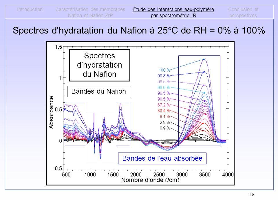 18 Spectres dhydratation du Nafion à 25°C de RH = 0% à 100% IntroductionCaractérisation des membranes Nafion et Nafion-ZrP Étude des interactions eau-