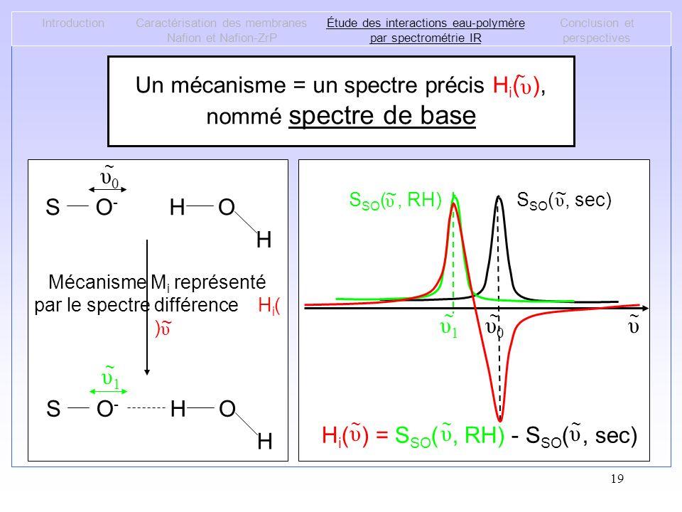 19 IntroductionCaractérisation des membranes Nafion et Nafion-ZrP Étude des interactions eau-polymère par spectrométrie IR Conclusion et perspectives