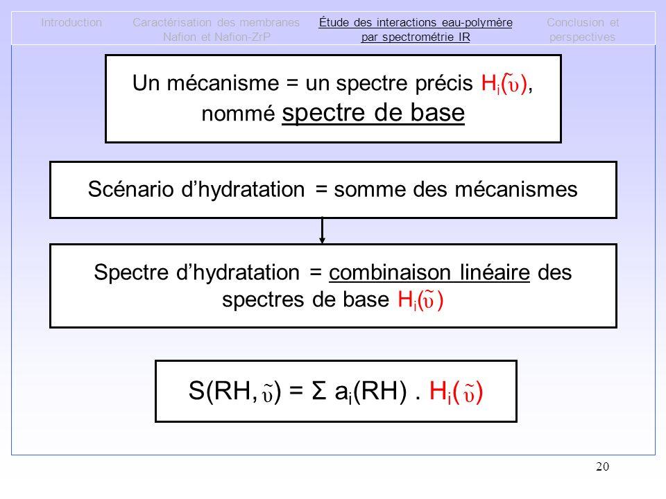 20 IntroductionCaractérisation des membranes Nafion et Nafion-ZrP Étude des interactions eau-polymère par spectrométrie IR Conclusion et perspectives