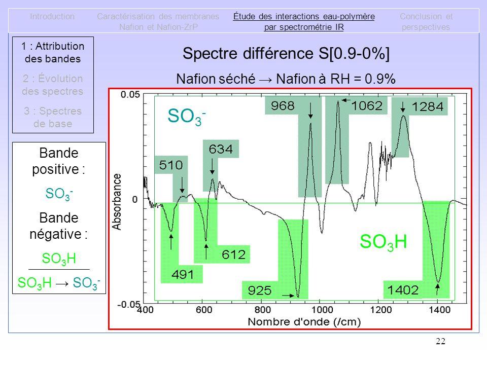 22 IntroductionCaractérisation des membranes Nafion et Nafion-ZrP Étude des interactions eau-polymère par spectrométrie IR Conclusion et perspectives