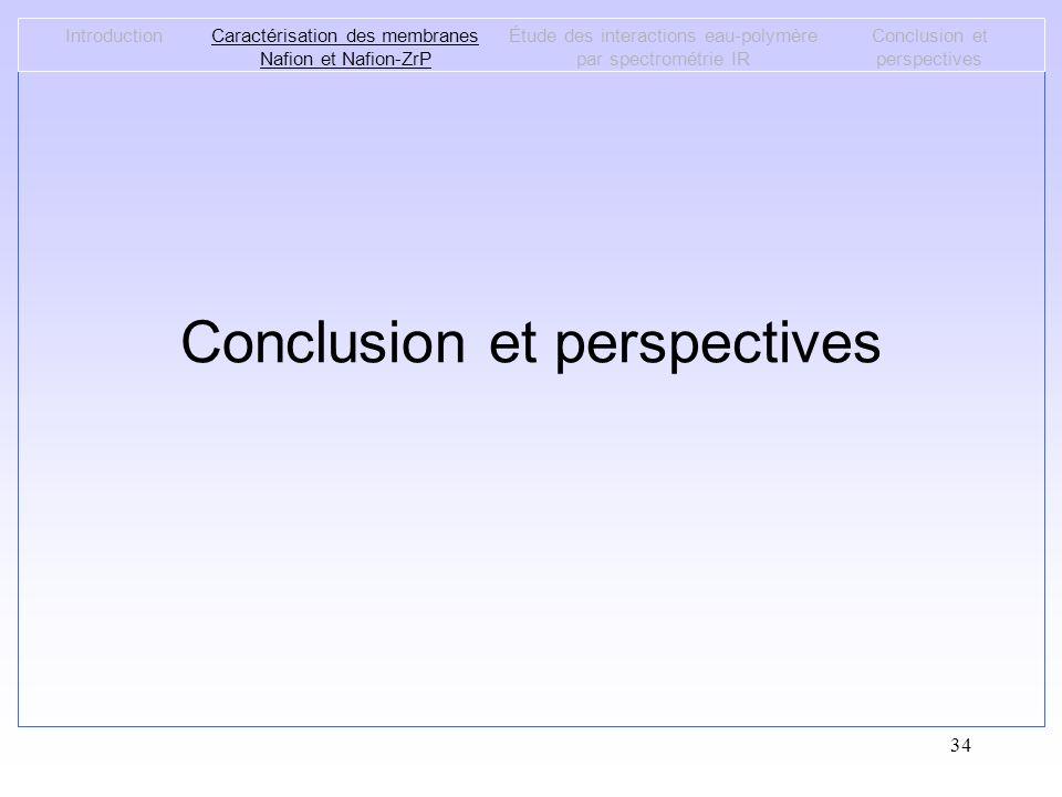 34 Conclusion et perspectives IntroductionCaractérisation des membranes Nafion et Nafion-ZrP Étude des interactions eau-polymère par spectrométrie IR