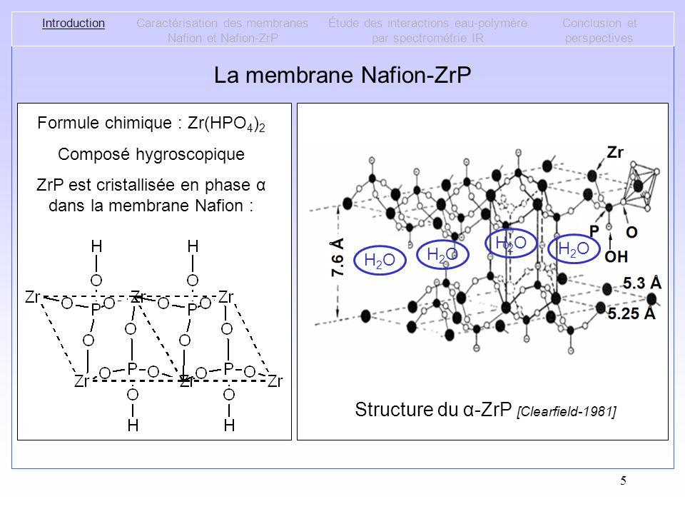 5 La membrane Nafion-ZrP IntroductionCaractérisation des membranes Nafion et Nafion-ZrP Étude des interactions eau-polymère par spectrométrie IR Concl