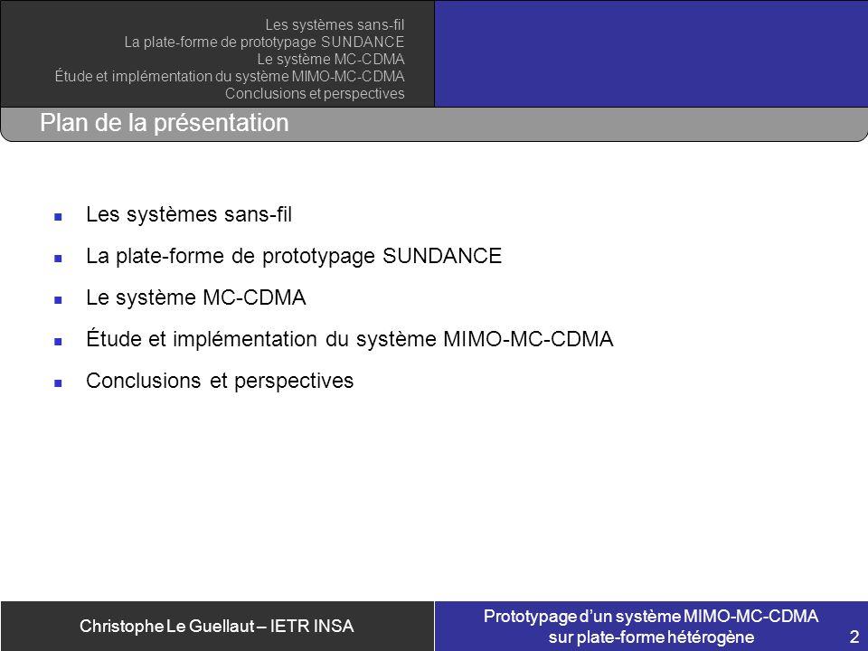 Christophe Le Guellaut – IETR INSA Prototypage dun système MIMO-MC-CDMA sur plate-forme hétérogène 2 Plan de la présentation Les systèmes sans-fil La