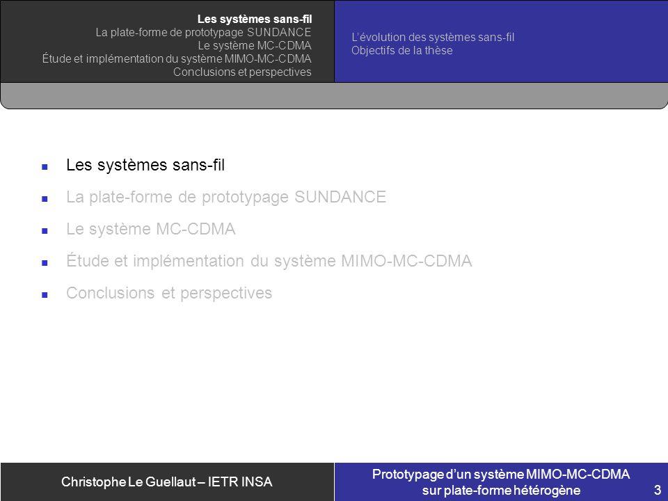 Christophe Le Guellaut – IETR INSA Prototypage dun système MIMO-MC-CDMA sur plate-forme hétérogène 3 Les systèmes sans-fil La plate-forme de prototypa