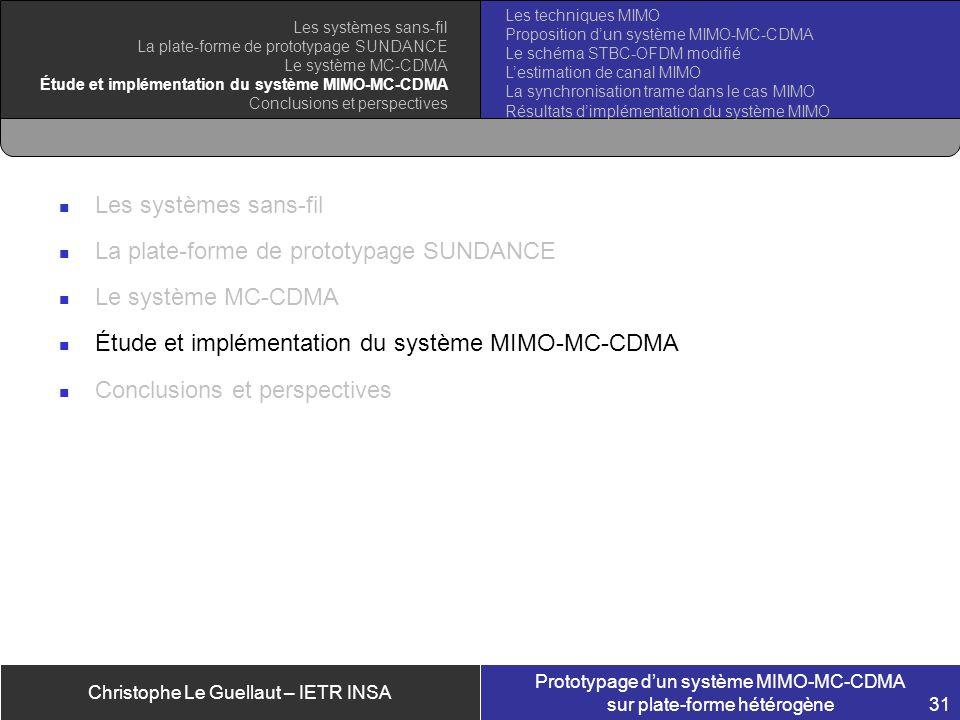 Christophe Le Guellaut – IETR INSA Prototypage dun système MIMO-MC-CDMA sur plate-forme hétérogène 31 Les systèmes sans-fil La plate-forme de prototyp