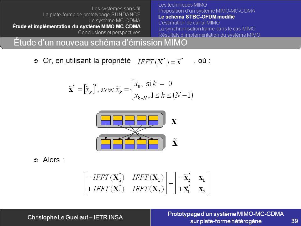 Christophe Le Guellaut – IETR INSA Prototypage dun système MIMO-MC-CDMA sur plate-forme hétérogène 39 Étude dun nouveau schéma démission MIMO Or, en u