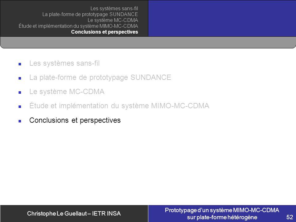 Christophe Le Guellaut – IETR INSA Prototypage dun système MIMO-MC-CDMA sur plate-forme hétérogène 52 Les systèmes sans-fil La plate-forme de prototyp