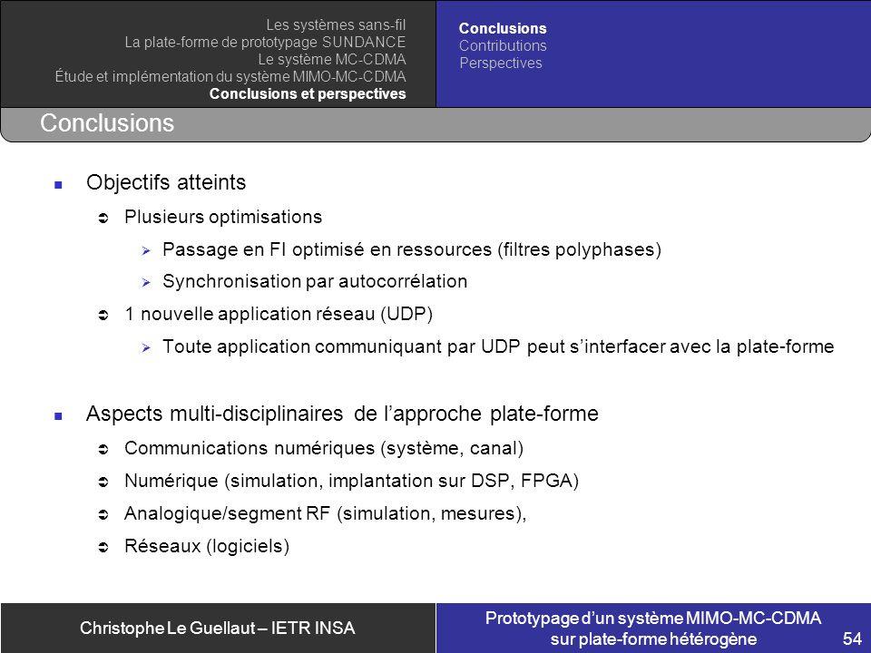 Christophe Le Guellaut – IETR INSA Prototypage dun système MIMO-MC-CDMA sur plate-forme hétérogène 54 Conclusions Objectifs atteints Plusieurs optimis
