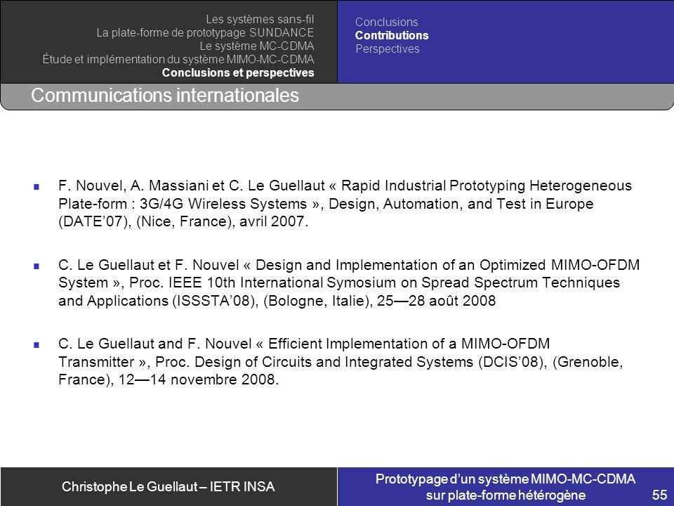 Christophe Le Guellaut – IETR INSA Prototypage dun système MIMO-MC-CDMA sur plate-forme hétérogène 55 Communications internationales F. Nouvel, A. Mas