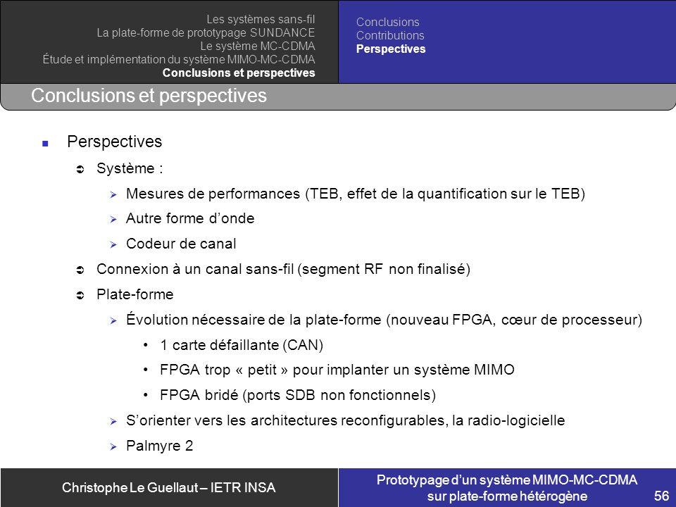 Christophe Le Guellaut – IETR INSA Prototypage dun système MIMO-MC-CDMA sur plate-forme hétérogène 56 Conclusions et perspectives Perspectives Système