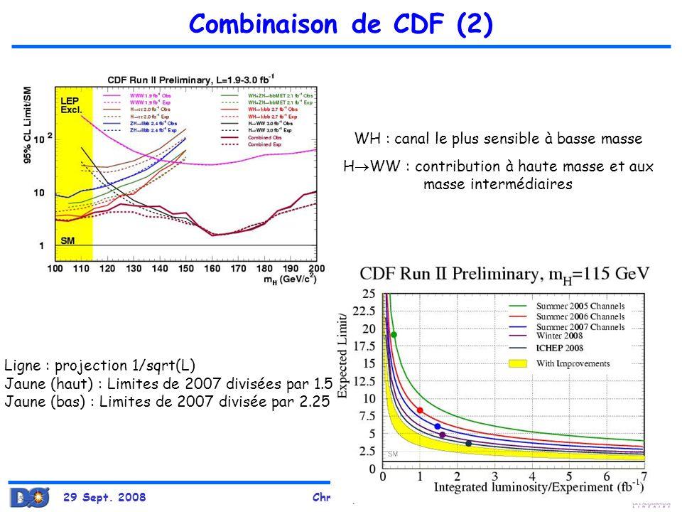 29 Sept. 2008Christophe Ochando 100 Combinaison de CDF (2) WH : canal le plus sensible à basse masse H WW : contribution à haute masse et aux masse in