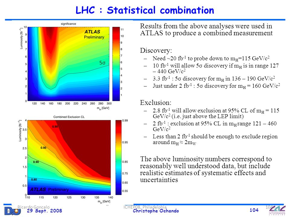 29 Sept. 2008Christophe Ochando 104 ATLAS preliminary Exclusion at 95% CL Results from the above analyses were used in ATLAS to produce a combined mea