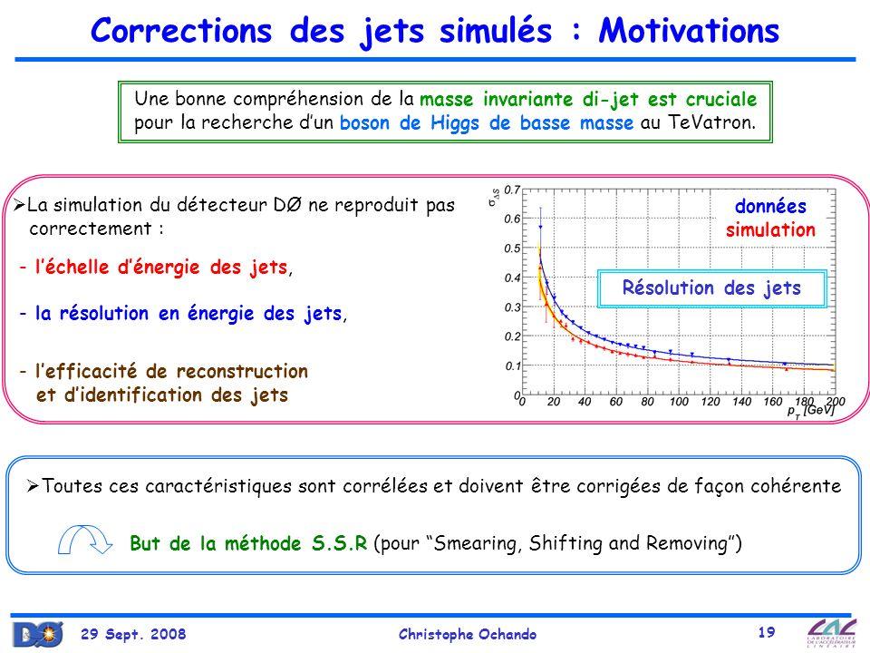 29 Sept. 2008Christophe Ochando 19 Corrections des jets simulés : Motivations Une bonne compréhension de la masse invariante di-jet est cruciale pour