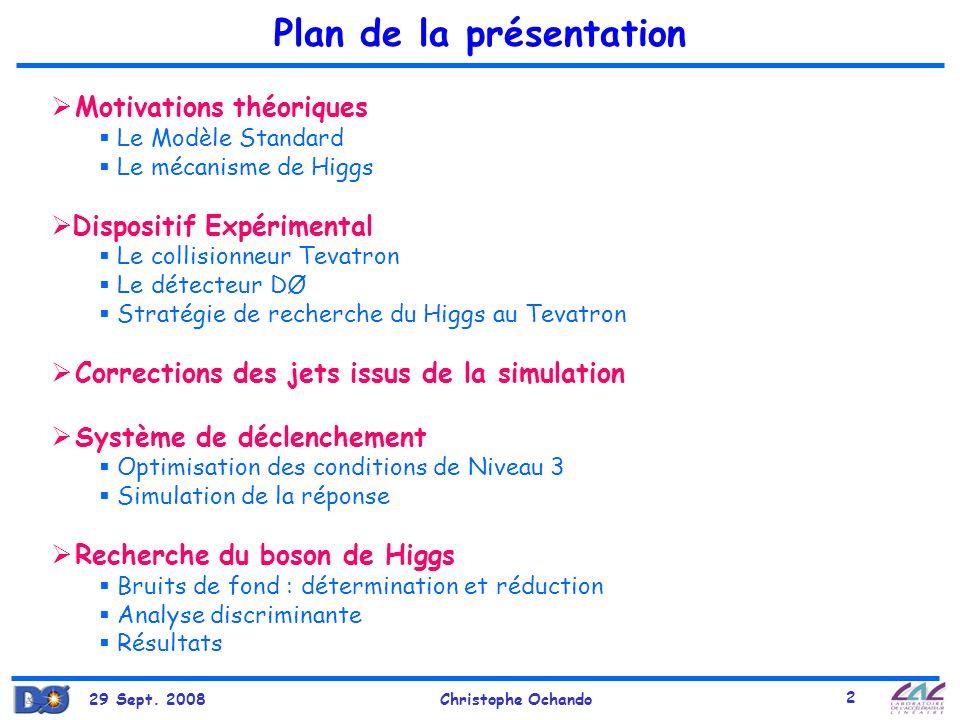 29 Sept. 2008Christophe Ochando 2 Plan de la présentation Motivations théoriques Le Modèle Standard Le mécanisme de Higgs Dispositif Expérimental Le c