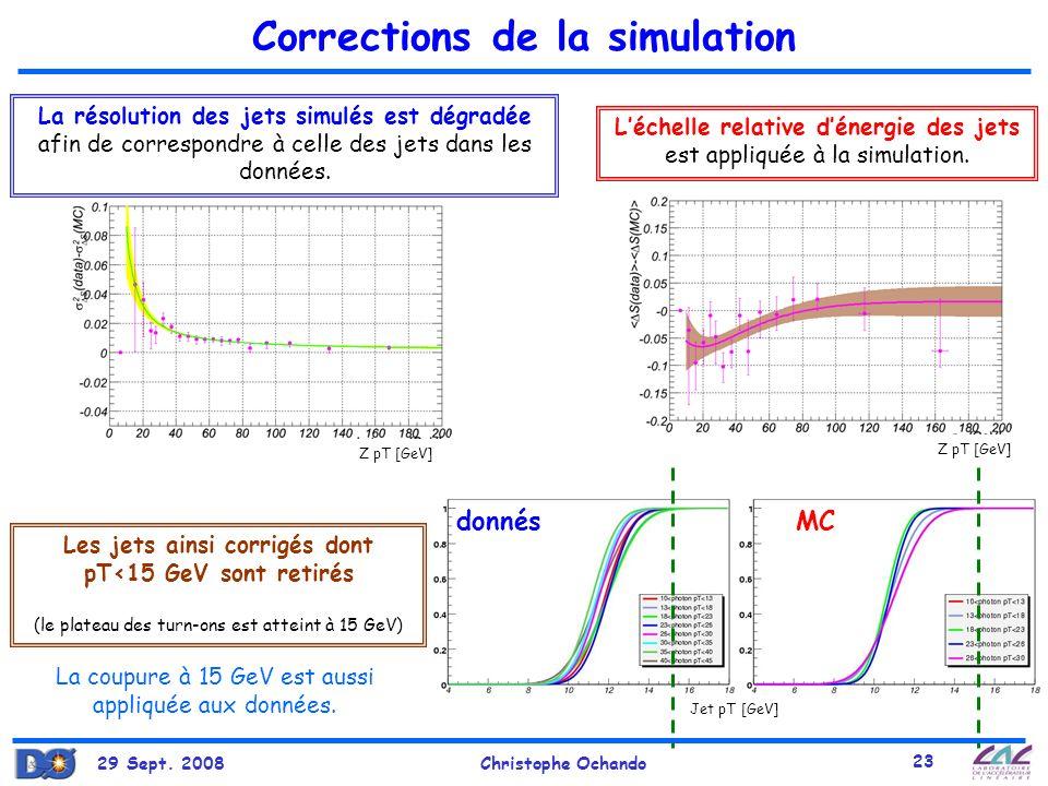 29 Sept. 2008Christophe Ochando 23 Jet pT [GeV] Corrections de la simulation La résolution des jets simulés est dégradée afin de correspondre à celle