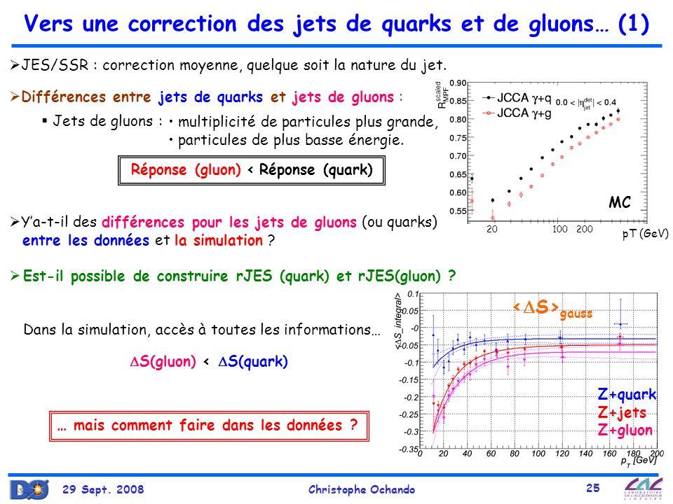 29 Sept. 2008Christophe Ochando 25 pT (GeV) 10020020 gauss Vers une correction des jets de quarks et de gluons… (1) Différences entre jets de quarks e