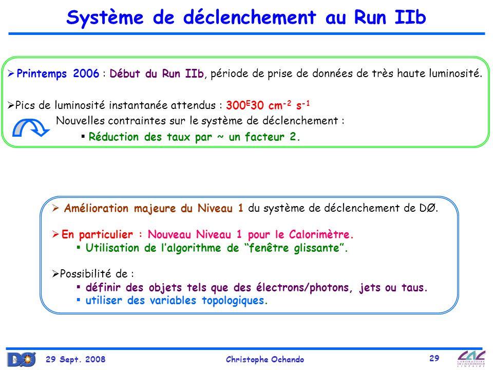 29 Sept. 2008Christophe Ochando 29 Système de déclenchement au Run IIb Printemps 2006 : Début du Run IIb, période de prise de données de très haute lu