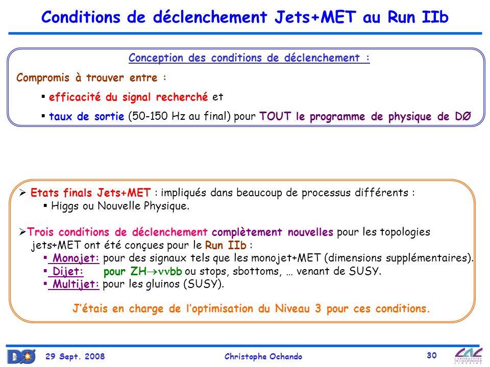 29 Sept. 2008Christophe Ochando 30 Conditions de déclenchement Jets+MET au Run IIb Etats finals Jets+MET : impliqués dans beaucoup de processus différ