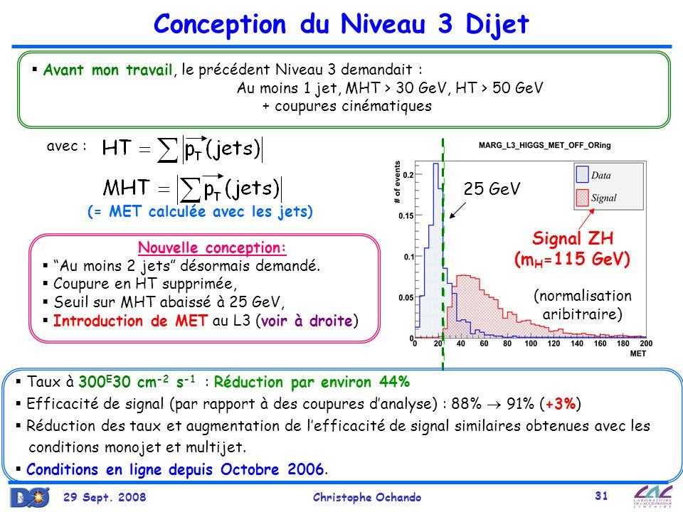 29 Sept. 2008Christophe Ochando 31 Conception du Niveau 3 Dijet Avant mon travail, le précédent Niveau 3 demandait : Au moins 1 jet, MHT > 30 GeV, HT