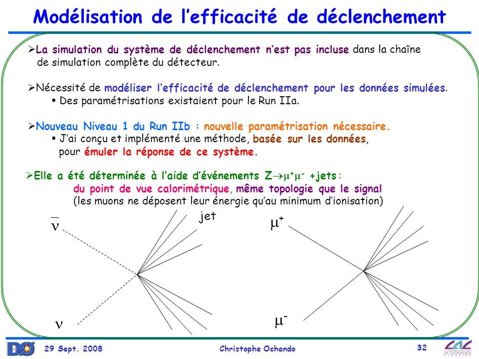 29 Sept. 2008Christophe Ochando 32 Modélisation de lefficacité de déclenchement La simulation du système de déclenchement nest pas incluse dans la cha