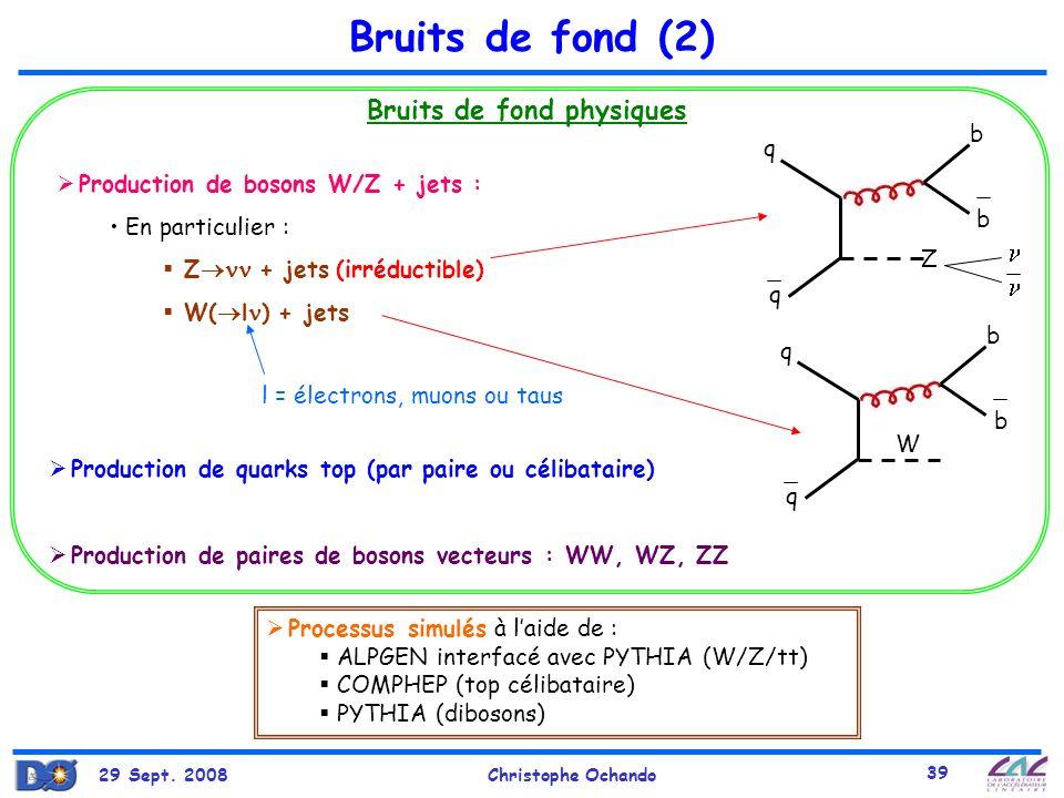 29 Sept. 2008Christophe Ochando 39 Bruits de fond (2) Bruits de fond physiques Production de bosons W/Z + jets : En particulier : Z + jets (irréductib