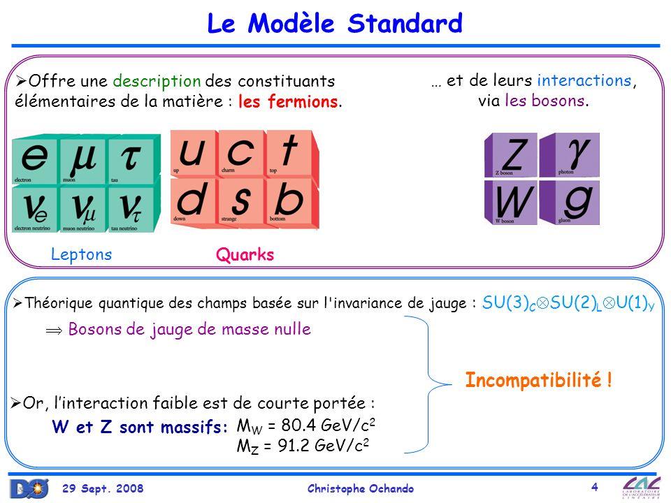 29 Sept. 2008Christophe Ochando 4 Le Modèle Standard Offre une description des constituants élémentaires de la matière : les fermions. … et de leurs i