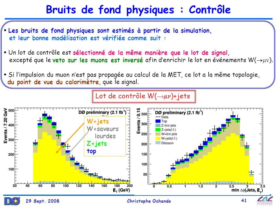 29 Sept. 2008Christophe Ochando 41 Les bruits de fond physiques sont estimés à partir de la simulation, et leur bonne modélisation est vérifiée comme