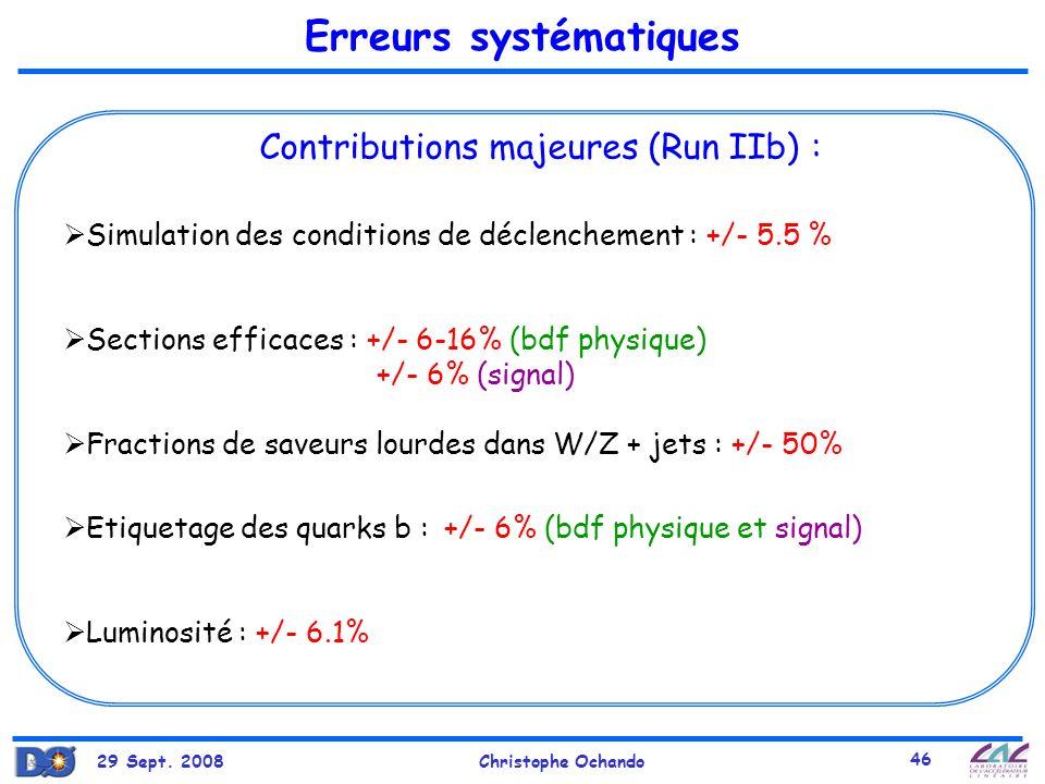 29 Sept. 2008Christophe Ochando 46 Erreurs systématiques Simulation des conditions de déclenchement : +/- 5.5 % Sections efficaces : +/- 6-16% (bdf ph