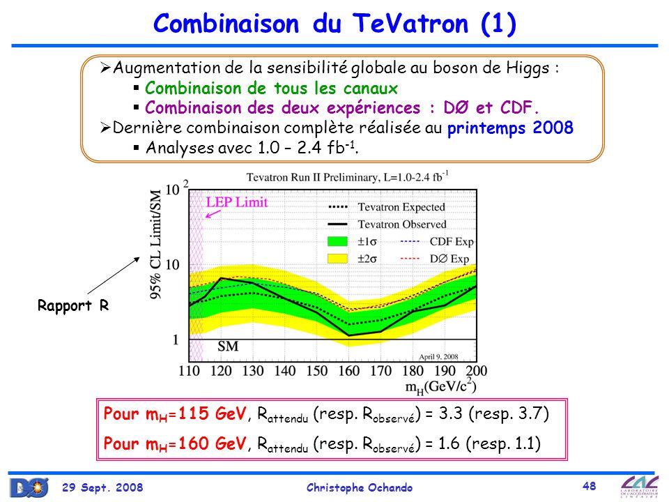 29 Sept. 2008Christophe Ochando 48 Combinaison du TeVatron (1) Augmentation de la sensibilité globale au boson de Higgs : Combinaison de tous les cana