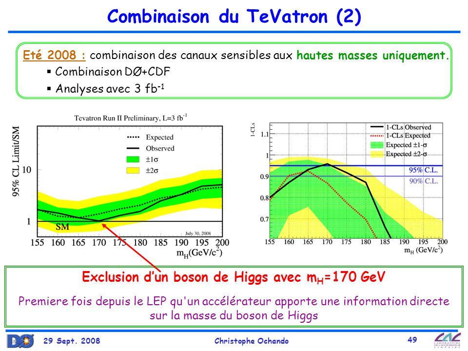 29 Sept. 2008Christophe Ochando 49 Combinaison du TeVatron (2) Eté 2008 : combinaison des canaux sensibles aux hautes masses uniquement. Combinaison D