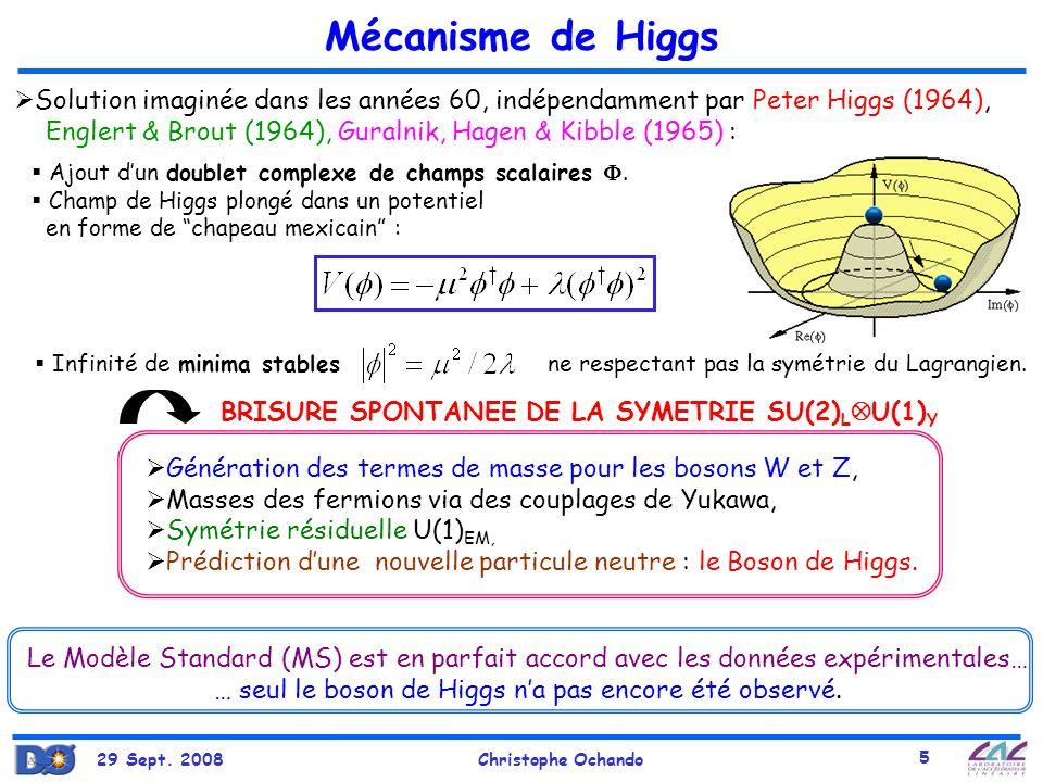 29 Sept. 2008Christophe Ochando 5 Infinité de minima stables ne respectant pas la symétrie du Lagrangien. Solution imaginée dans les années 60, indépe