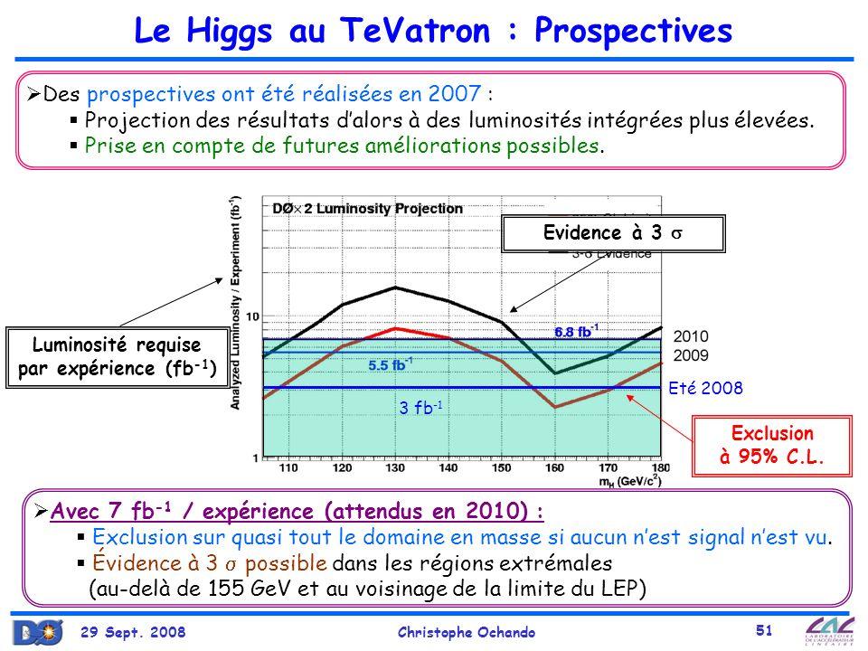 29 Sept. 2008Christophe Ochando 51 Le Higgs au TeVatron : Prospectives Des prospectives ont été réalisées en 2007 : Projection des résultats dalors à
