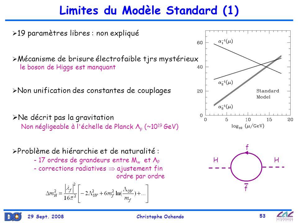 29 Sept. 2008Christophe Ochando 53 Limites du Modèle Standard (1) 19 paramètres libres : non expliqué Mécanisme de brisure électrofaible tjrs mystérie