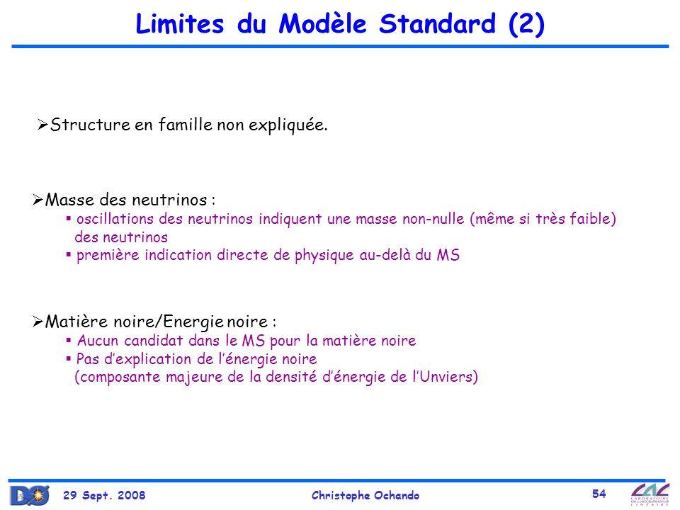 29 Sept. 2008Christophe Ochando 54 Limites du Modèle Standard (2) Masse des neutrinos : oscillations des neutrinos indiquent une masse non-nulle (même