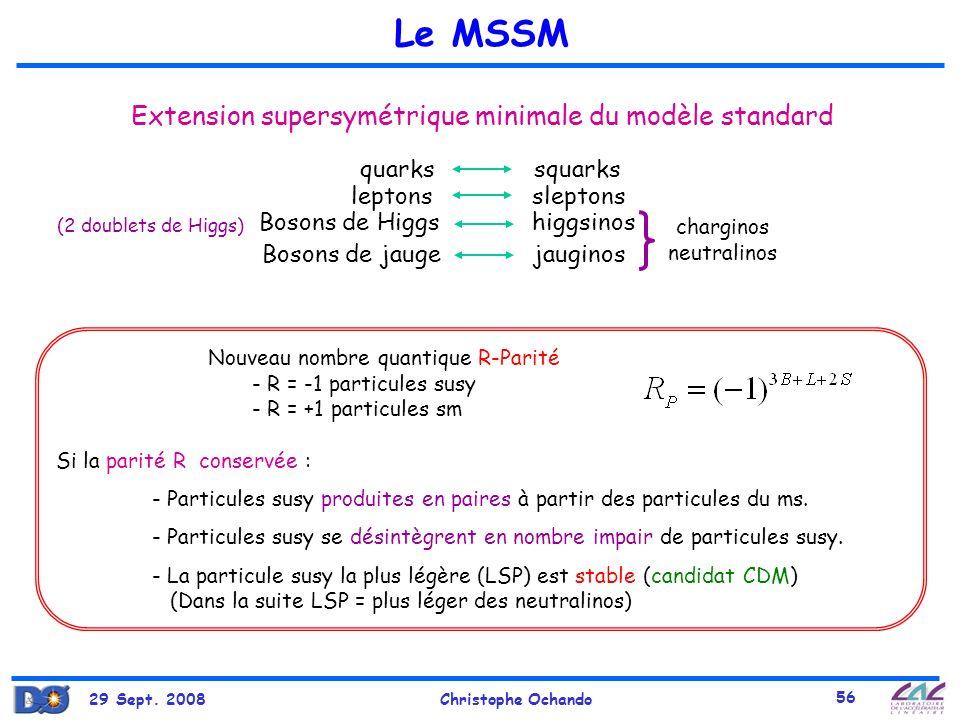 29 Sept. 2008Christophe Ochando 56 Extension supersymétrique minimale du modèle standard quarks squarks Bosons de jauge jauginos Bosons de Higgs higgs